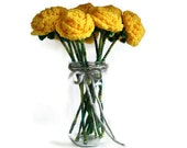 12 Yellow Crochet Roses Bouquet, 1 Dozen, Bright Yellow, Handmade Flowers, Custom Made in Australia