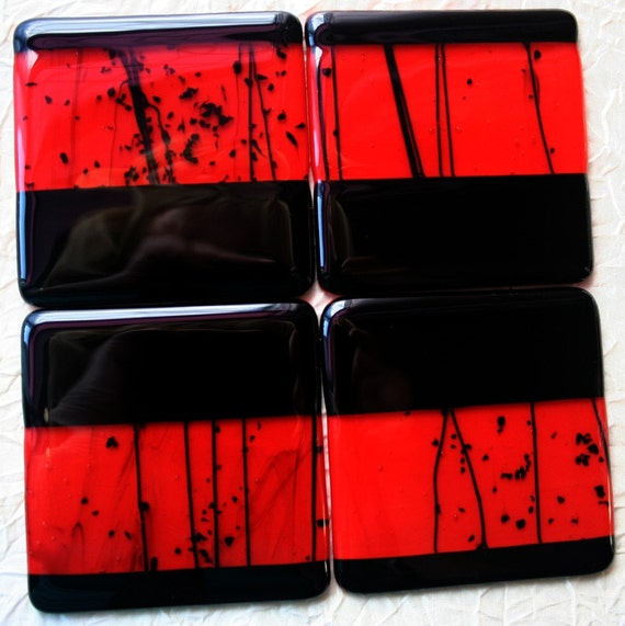 Set of 4 Red and  Black Hand Made Fused Glass Coasters SRA