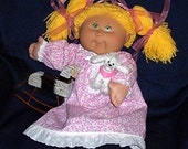 the FLORAL DANCE Nightgown / Dress - - Custom-Order  12, 14, 15, 16, 17, 18, 22 inch Cabbage Patch, Bitty Baby or similar doll