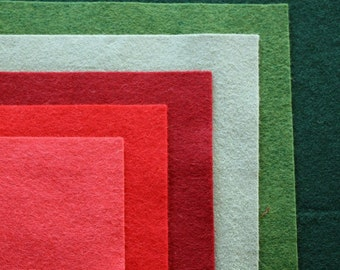 Poinsettia Wool Felt Palette - 12 x 12 in. Squares - 6 Sheets