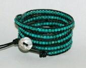 Gemma-Leather Wrapped Beaded Bracelet