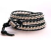 Gina-Leather Wrap Beaded Bracelet