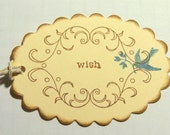10 Wedding Tags / Wedding Wish Tags / Wedding Gift Tags / Bird Wish Tags / Birthday Wish Tags:  Blue Bird Wedding Tags - Blue Bird Wish Tags