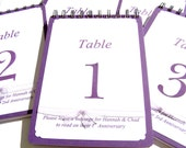 RESERVED LISTING for Crystal for 5 Alternative Wedding Table Numbers - Alternative Wedding Guest Books - Table Cards - Table Number Cards