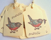 25 Thank You Tags Bird Gift Tags Merci Gift Tags Bird Merci Gift Tags on Ivory Card Stock