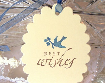 Wedding Wish Tags - Wedding Tree Tags - Best Wishes Tags - Blue Bird Wish Tags - Wedding Tags - Wedding Gift Tags - Bird Tags - Set of 50
