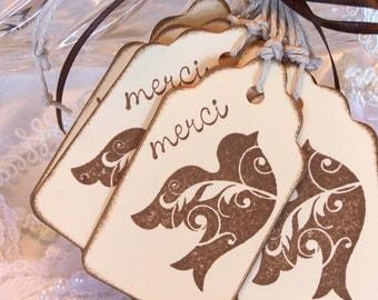Thank You Tags Thank You Gift Tags Thank You Wedding Tags:  Brown Bird Merci Gift Tags Set of 10