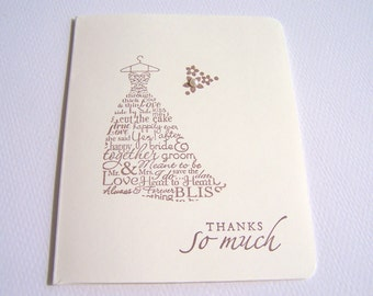 50 Wedding Thank You Cards - Bridal Thank You Cards - Wedding Dress Cards - Wedding Cards - Bridal Cards - Bride Thank You Cards - Card Sets