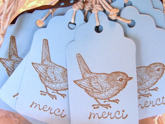 Thank You Gift Tags Bird Gift Tags Merci Gift Tags Blue Gift Tags:  Brown Bird Merci Gift Tags on Blue Card StockSet of 10