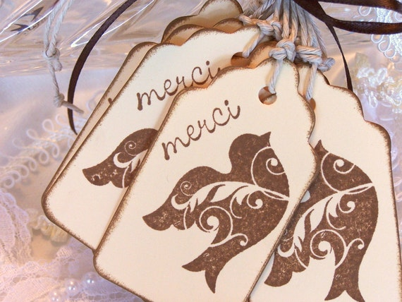 Thank You Tags Thank You Gift Tags Thank You Wedding Tags:  Brown Bird Merci Gift Tags Set of 10