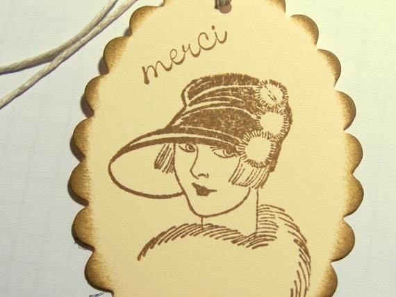 Thank you Gift Tags, Thank you Tags, Merci Gift Tags, Merci Tags: Fancy Lady Thank You Gift Tags Set of 10