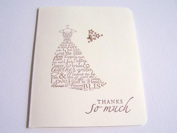 50 Wedding Thank You Cards - Bridal Thank You Cards - Wedding Dress Cards - Wedding Cards - Bridal Cards - Bride Thank You Cards - Card Sets