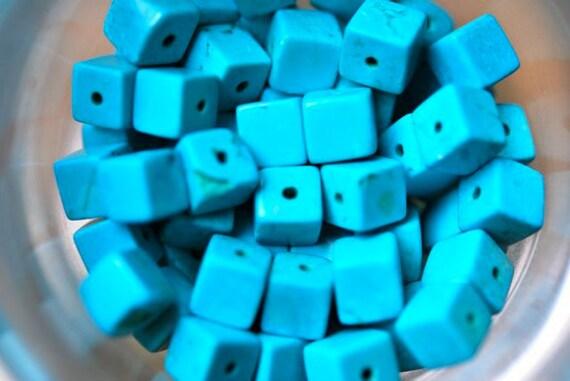 6x6mm Turquoise Cube Beads- Gemstone