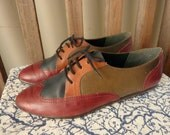 Vintage Westies/ Posh Four Color Leather Oxford Flats/ Sz 7.5