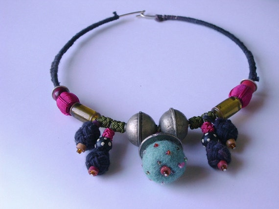 Textile necklace with a Moroccan twist