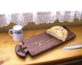 Charming French Bread Board/ Walnut Wood Serving Tray