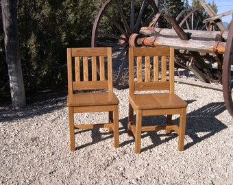 12 inch Children's Chairs (2 Chairs) Honey Brown - Arts & Crafts Style or Mission Oak - Handcrafted 1930's Wood Child's School Chair
