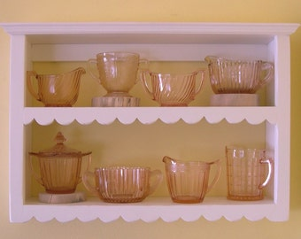 Distressed Pine Shelf 14 1/2-in H - French Chic Painted Shelf with Hand-Cut Scallops on Shelf Edges