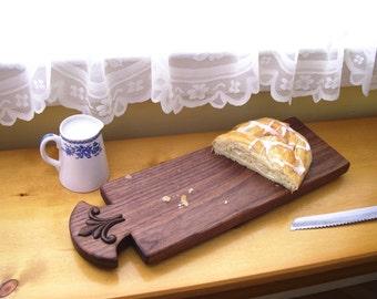 Fleur-de-Lis Walnut Bread Board/ Wood Serving Board
