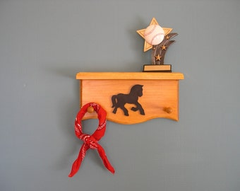 Western Room Decor 2 peg Shelf with Draft Horse Design