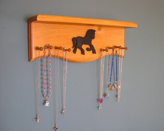 Western Room Decor Jewelry Shelf Organizer with Draft Horse Design