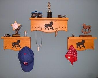 Western Room Decor Shelf Set with Draft Horse Cutout - Set of 3 Children's Shelves