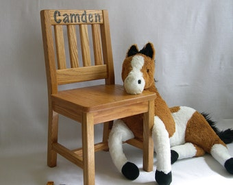 Personalized Wood Children's Chair 12 inch Honey Brown Oak Mission Style - Quality Children's Furniture Made to Order