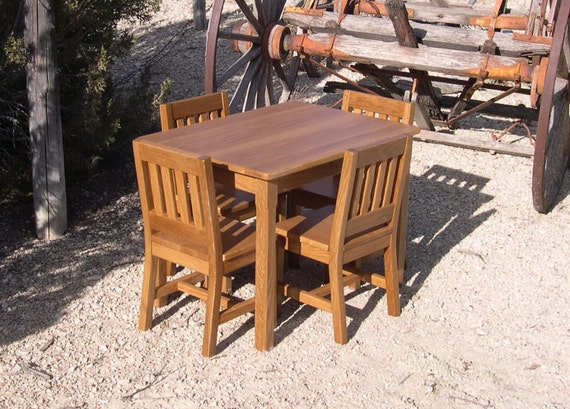 "Children's Table and 4 Chairs Set (12"" seat height)- Arts & Crafts or Mission Style- Made to Order Quality Furniture Mission Oak-"