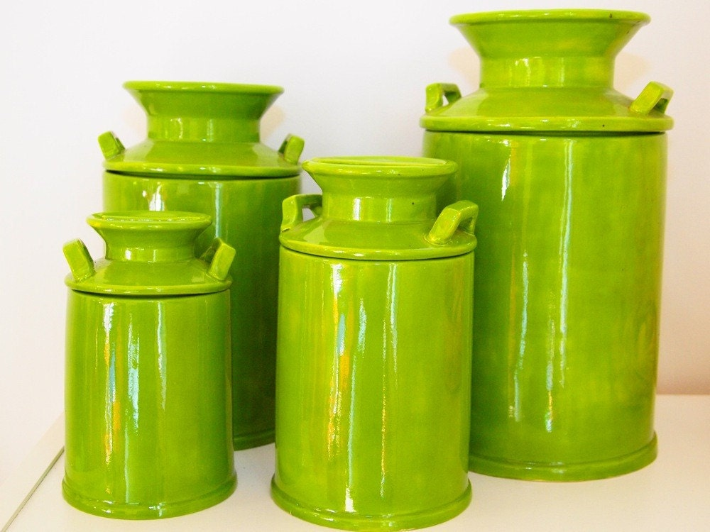 Picholine Olive Green Ceramic Canisters Set Of 4