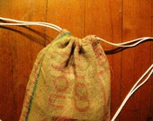 Upcycled Burlap sack Pack-  Made from recycled Coffee Bags