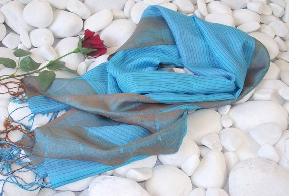 Hand Woven Silky Shawl-Turquoise and Brown Stripes