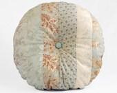 Autumn Florals Button-Tufted Stripe Patchwork Pillow - 16in