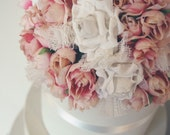 Pink Rose and White Paper Rose Wedding Cake Topper