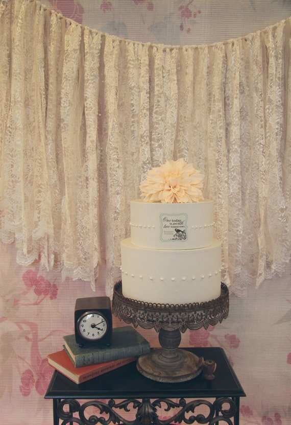 Lace and Tulle Garland Wedding Cake Backdrop or Photo Prop