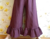 Lagenlook linen pant bloomers wide leg ruffle pants made to order