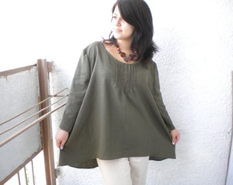 Oversize Linen Tunic Top Hi-Low Asymmetric Linen Top Tunic Long Sleeves Loose Shirt made to order