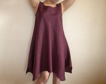 linen dress linen tunic lagenlook dress asymmetric linen dress loose fitting dress made to order