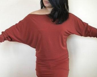 batwing sleeve off shoulder mini dress lycra jersey made to order