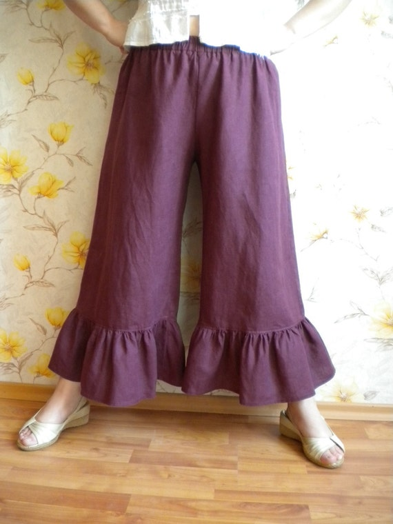 Lagenlook linen pant bloomers wide leg ruffle pants linen knickers made to order