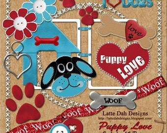 Puppy Love Digital Scrapbooking Kit and Digital Papers