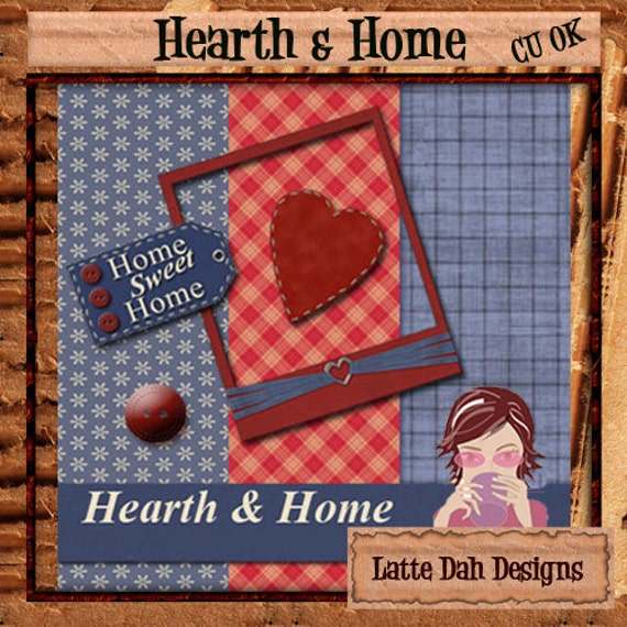 Hearth and Home - Digital Scrapbooking Mini Kit and Digital Papers