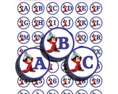 Mickey Mouse Letter and Number Bottle Cap Images / Collage Sheet- 42 Clip Art Images - 300 DPI