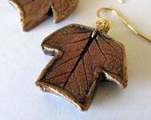 Earrings Poplar leaf copper colored