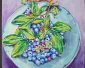 Blue, Blueberries, Painting, Original Art, Fruit, Fresh, Juicy, Summer, Ready to Hang