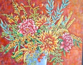 Red Painting Flowers Still Life Original Painting Acrylic 24in x 30in Ready to hang