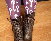 Printed Tights M-L/Tall Antique Keys Purple and Silver