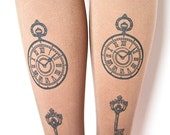 Pocket-Watch & Keys Printed Tights Small Medium Black Pearl on Mocha Mocca Coffee Brown Women Steampunk
