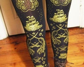 XL Pirate Tights Narwhals Extra Large Plus Size Gold on Black Women Tattoo Sailor Anchor Lolita