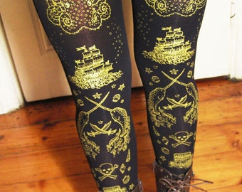 S M Pirate Tights Narwhals Small Medium 120 Denier Thick Gold on Black Women Nautical Tattoo Sailor