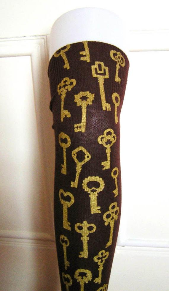 Antique Keys Over Knee Socks Gold on Brown